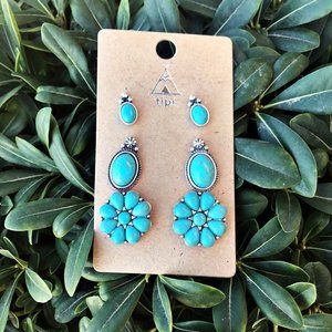 Jewelry - Floral Cowgirl Earring Trio Set